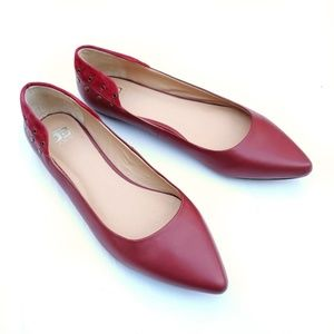 Joe's Jeans Red Pointed Toe Studded Flats